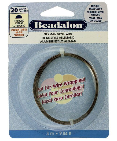 WR5620AB = German Style Wire 20ga 1/2 RD ANTIQUE BRASS COLOR 3 METER COIL