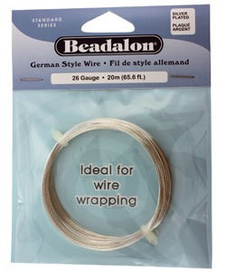 WR5526S = Beadalon German Style Wire 26ga ROUND SILVER PLATED 20 METER COIL