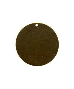 MSBV1007 = Vintaj Brass Shape - ROUND with TOP HOLE 25mm (Pkg of 6)