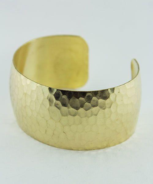 MSBR1042 = Hammered Domed Brass Cuff Bracelet 1-1/8'' Wide