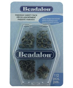 999CF-03 = FINDINGS VARIETY PACK of 112pcs ANTIQUE SILVER COLOR