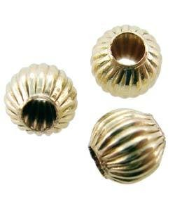 ABF-C03 = Corrugated Round Bead 3mm Gold Filled (Pkg of 10)