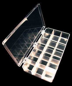 """15.140 = STORAGE BOX  PLASTIC 18 space  8 1/4"""" x 4 1/2"""" x 1 3/8"""""""