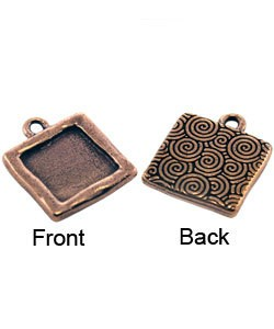 3000CP-43 = Fancy Square Pendant 13mm ID Copper Plated with Ring