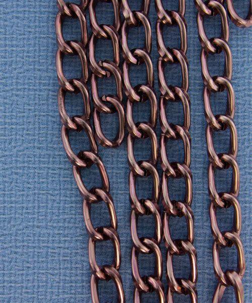 800AL-095BR = Aluminum Curb Chain Brown 9.3 x 5.3mm Wide 5 feet Long
