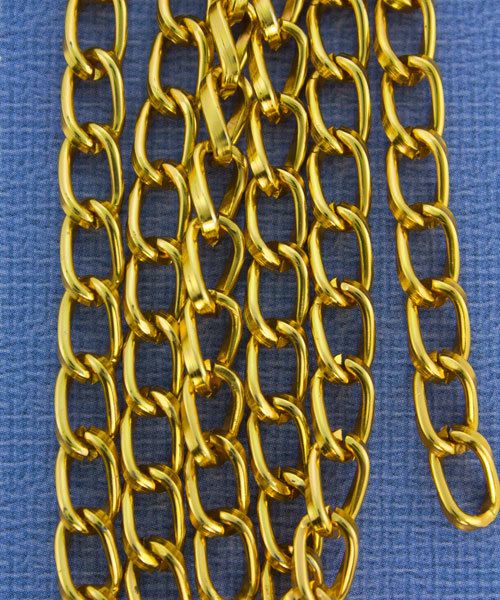 800AL-095TG = Aluminum Curb Chain Tangerine 9.3 x 5.3mm Wide 5 feet Long