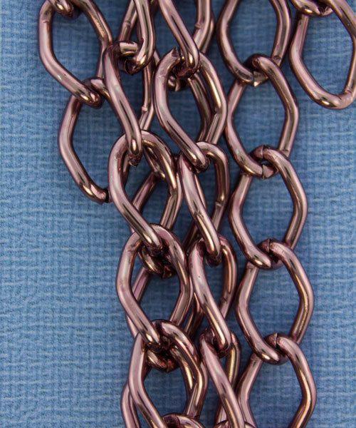 800AL-149BR = Aluminum Curb Chain Brown 14.4 x 9mm Wide 5 feet Long