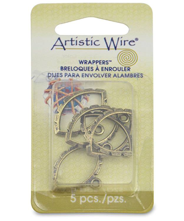 810AB-09 = Wrapper Navette by Artistic Wire Antique Brass Color (Pkg of 5)