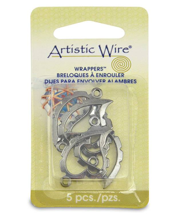 810HC-05 = Wrapper Curved Heart by Artistic Wire Hematite Color (Pkg of 5)