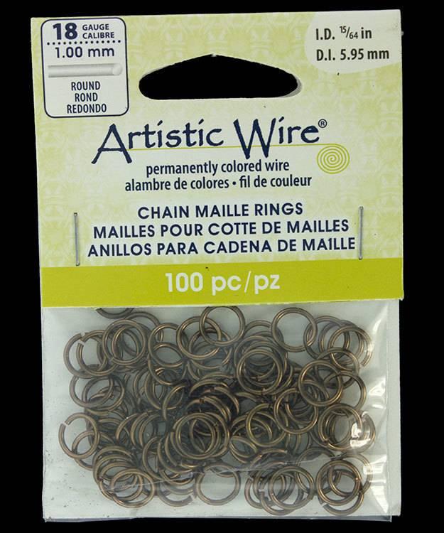 "900AWM-09 = Artistic Wire Gun Metal Color Jump Ring 5.9mm ID (15/64"") 18ga"