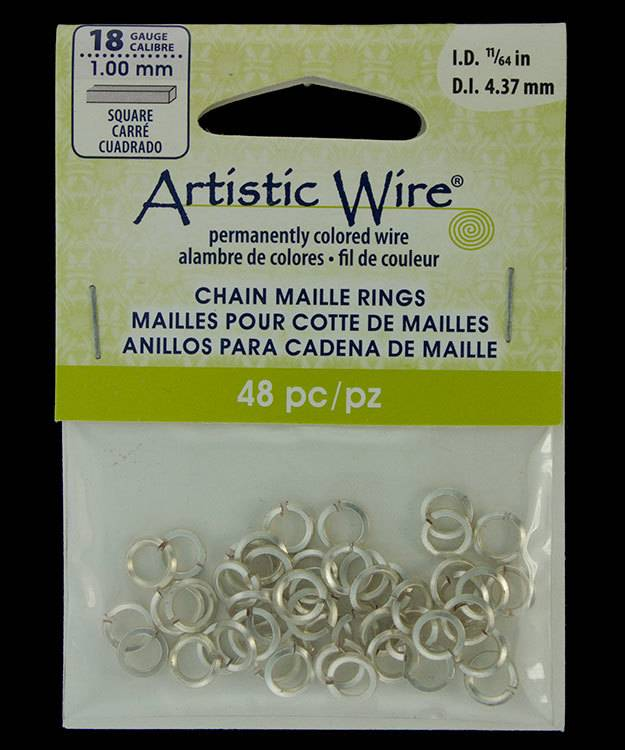 "900AWSQ-06 = Artistic Wire Square Wire Silver Color Jump Ring 4.3mm ID (11/64"") 18ga"