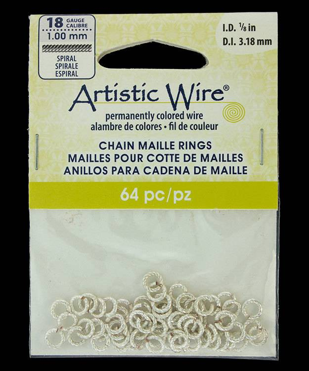 """900AWSS-03 = Artistic Wire Spiral Wire Silver Color Jump Ring 3.1mm ID (1/8"""") 18ga"""