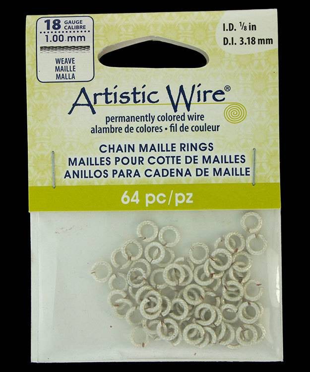 "900AWSW-03 = Artistic Wire Weave Wire Silver Color Jump Ring 3.1mm ID (1/8"") 18ga"