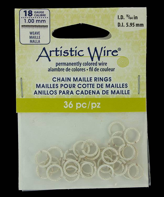 """900AWSW-09 = Artistic Wire Weave Silver Color Jump Ring 5.9mm ID (15/64"""") 18ga"""