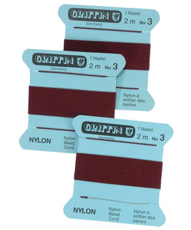 CD133 = Garnet Nylon Beading Cord #3 (Pkg of 3)