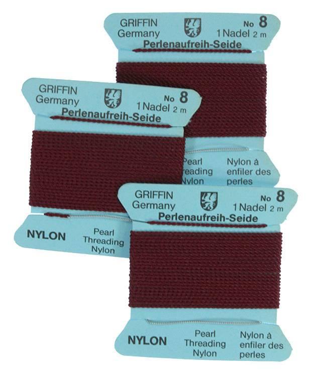 CD138 = Garnet Nylon Beading Cord #8 (Pkg of 3)