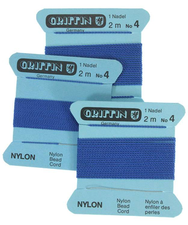 CD164 = Blue Nylon Beading Cord #4 (Pkg of 3)