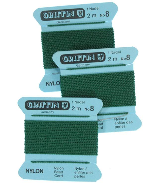 CD218 = Green Nylon Beading Cord #8 (Pkg of 3)