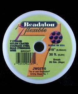 "CD40718T = Beadalon 7 Bright .018""  30ft Spool"