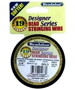"CD41918K = Beadalon 19  .018""  15 FT Spool Gold Plated"