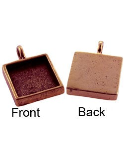 3000CP-31 = Square Pendant 5/8'' dia Copper Plated with Bail