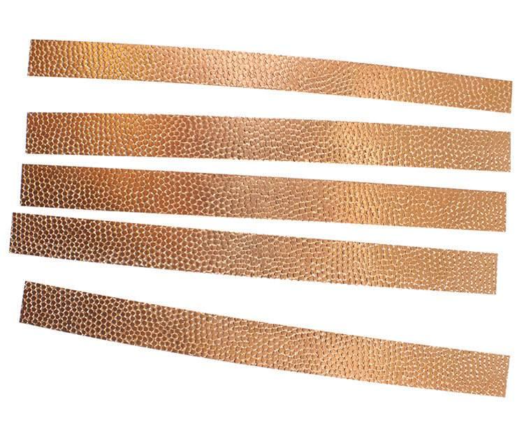 "CSP303 = Patterned Copper Strips ""hammered 3"" 6"" x 1/2""  24ga (Pkg of 5)"