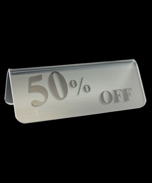 """DSI5524 = Frosted Acrylic Sign with Black Letters 3""""x1""""  50% OFF  (Pkg of 3)"""