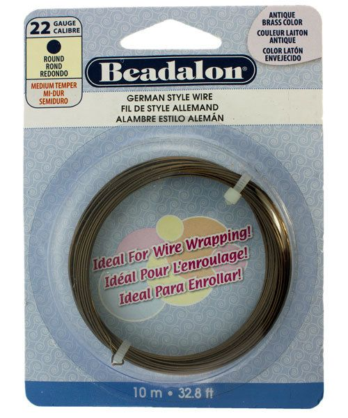 WR5522AB = German Style Wire 22ga Round Antique Brass Color 10 METER COIL