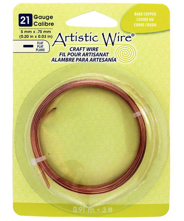 WR47213 = Flat Bare Copper Artistic Wire 5.0mm x 0.75mm 3 Foot Coil