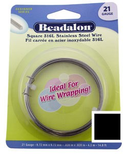 LSW21 = STAINLESS STEEL SQUARE WIRE 21ga (.028'') 4.5M pkg