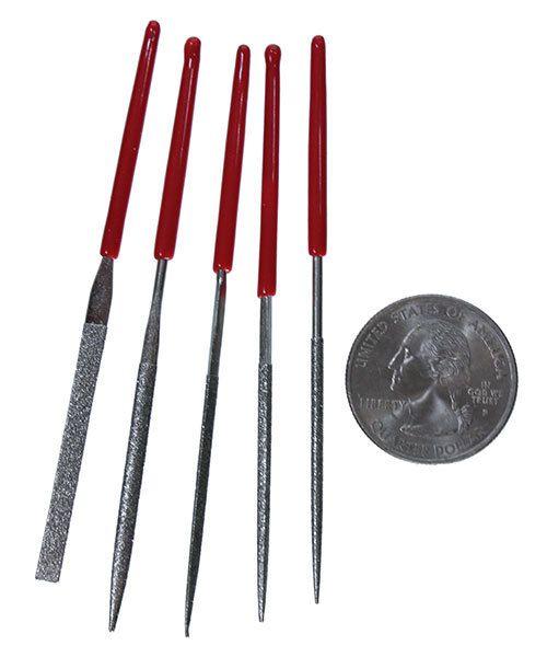 FI7418 = Economy Diamond Needle File Set with PVC Handles - 3-1/8''  (5pcs)