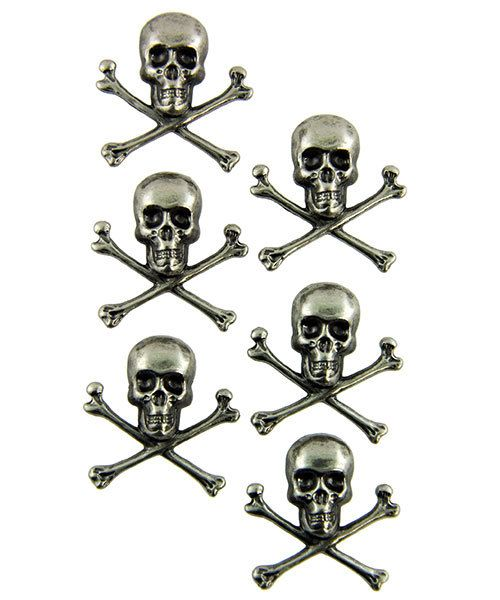 Tim Holtz Idea-ology EB2038 = Skull & Crossbones Adornments by Tim Holtz (Pkg of 6)