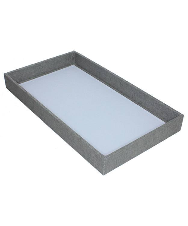 DTR7001 = Grey Linen Covered Display Trays 14-7/8''L x 8-3/8''W x 1.5''D