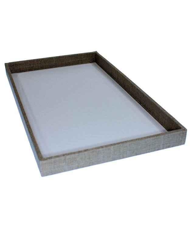 DTR7000 = Grey Linen Covered Display Trays 14-7/8 x 8-3/8 x 1'' deep