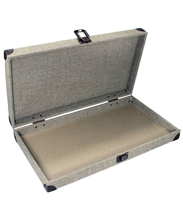 DTR3800 = Solid Top Burlap Tray with Metal Clasp 2'' Deep
