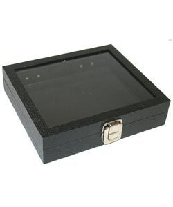 DTR1405 = GLASS TOP HALF TRAY with METAL CLASP 2'' DEEP