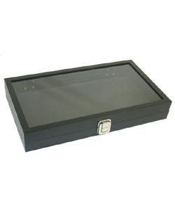 DTR1400 = Jewelry Tray with a Hinged See Through Lid 1'' Deep