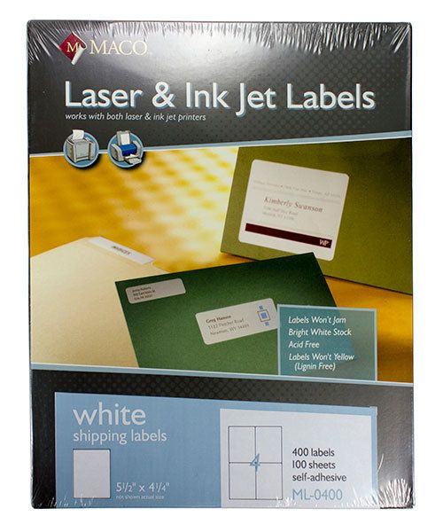 Maco Labels DTA90400 = MACO ALL PURPOSE LABELS 5-1/2'' x 4-1/4'' (400 per box) WHITE