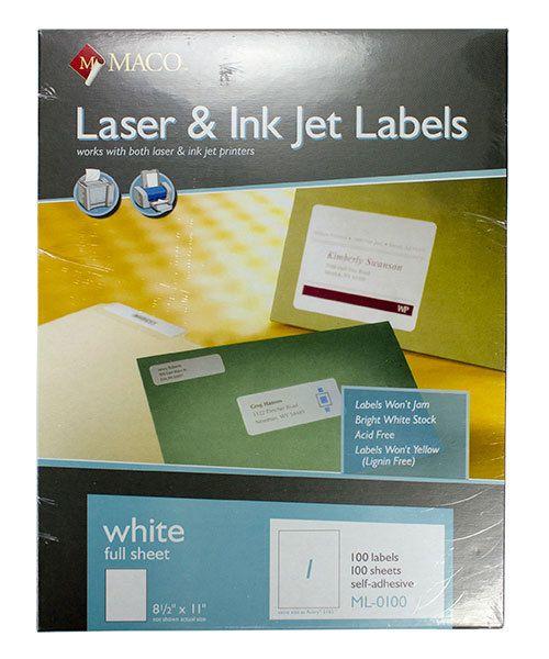 Maco Labels DTA90100 = MACO ALL PURPOSE LABELS 8-1/2'' x 11'' (100 per box) WHITE