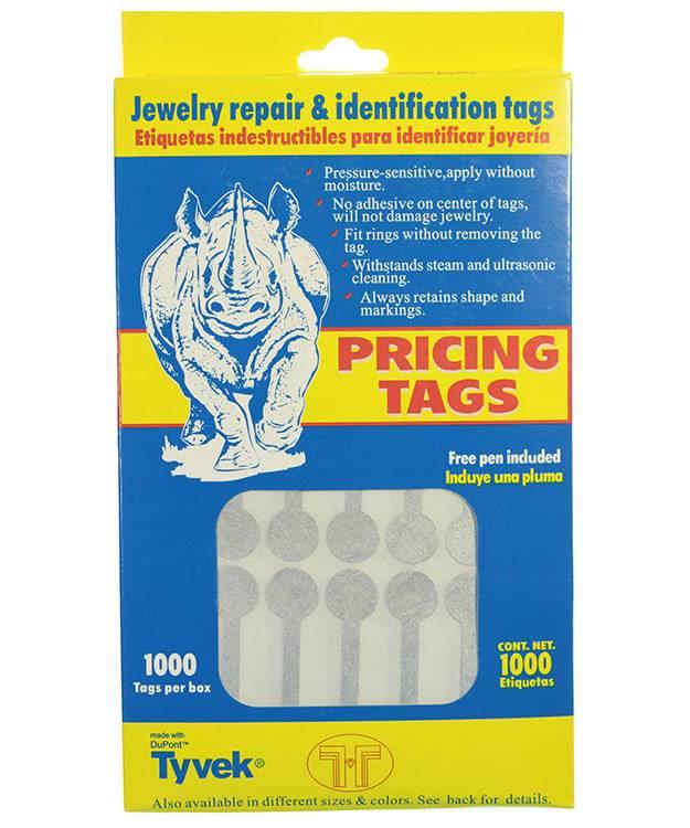 DTA7032 = Silver Tyvek Long Dumbbell Tags 1-7/8'' x 1/2'' (Pkg of 1000)