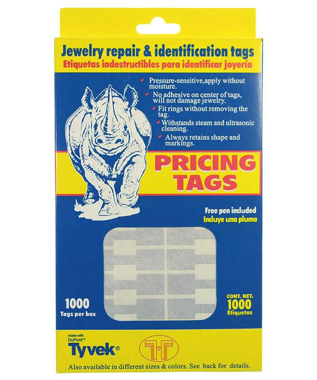 DTA7022 = Silver Tyvek Square Dumbbell Tags 1-9/16'' x 7/16'' (Pkg of 1000)