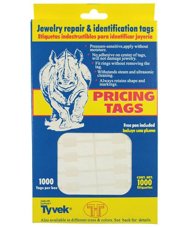 DTA7020 = White Tyvek Square Dumbbell Tags 1-9/16'' x 7/16'' (Pkg of 1000)