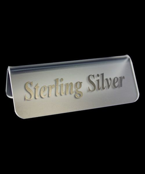 DSI5529 = Frosted Acrylic Sign with Black Letters 3''x1''  STERLING SILVER  (Pkg of 3)