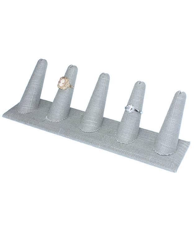 DRG7245 = Grey Linen Five Ring Finger Display 8'' x 2-1/2'' x 2-1/8''H