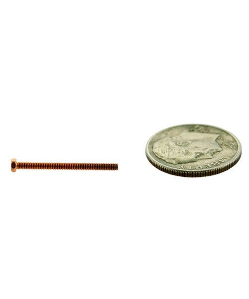 CCCP3029 = HEX HEAD SCREW 1.5mm x 3/4'' COPPER PLATED BRASS (Pkg of 10)