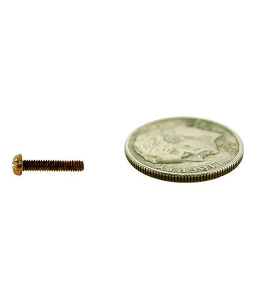 CCCP3036 = ROUND HEAD SCREW 1.8mm x 3/8'' COPPER PLATED BRASS (Pkg of 10)