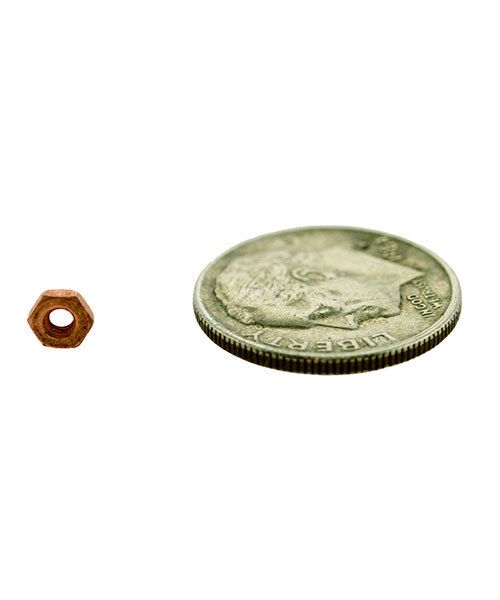 CCCP4003 = HEX NUT for 1.8mm SCREWS COPPER PLATED BRASS (Pkg of 10)