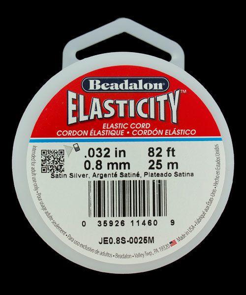 CD3048 = Elasticity by Beadalon Satin Silver 0.8mm / 25m Spool