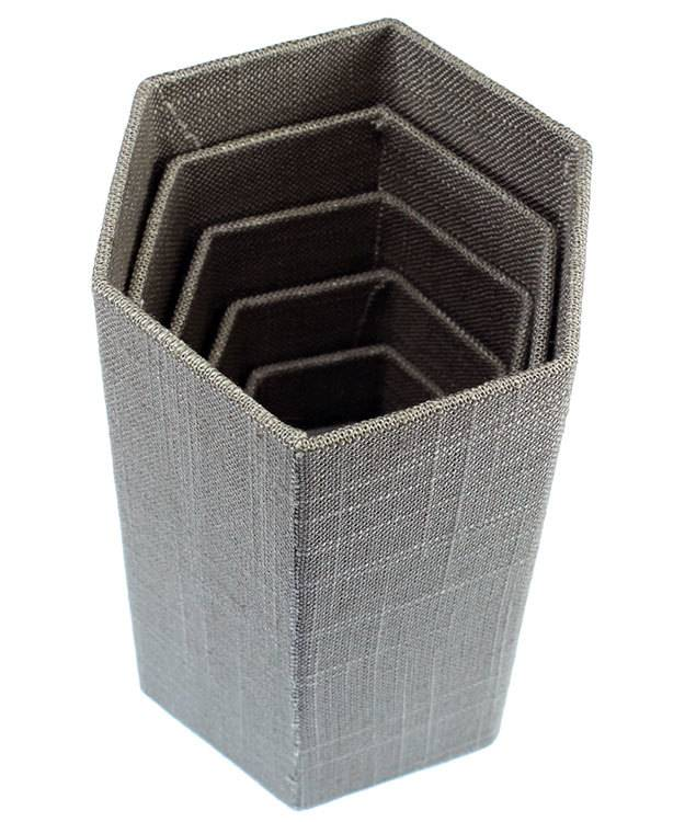 DIS7513 = Grey Linen Stackable Riser Set of 6 from 1-1/4'' to 6-1/4'' high