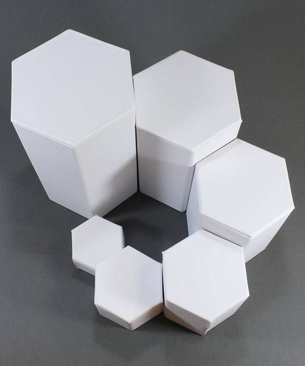 DIS6513 = White Leatherette Hexagonal Riser Set of 6pcs